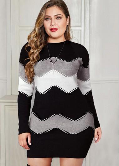 Color Block Long Sleeve Plus Size Sweater Dress - 3X
