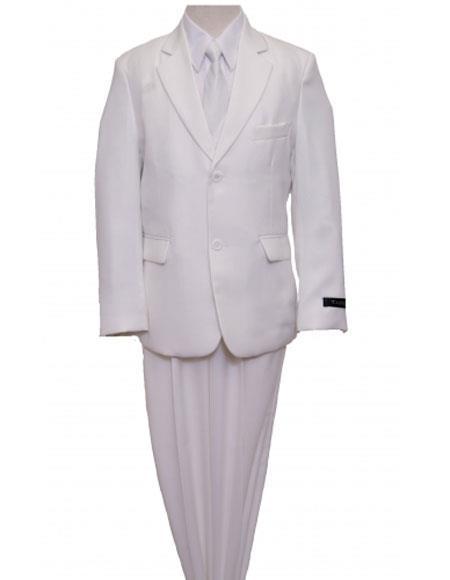 Husky Cut Boy Suit 2 Button Style Vested White Suits