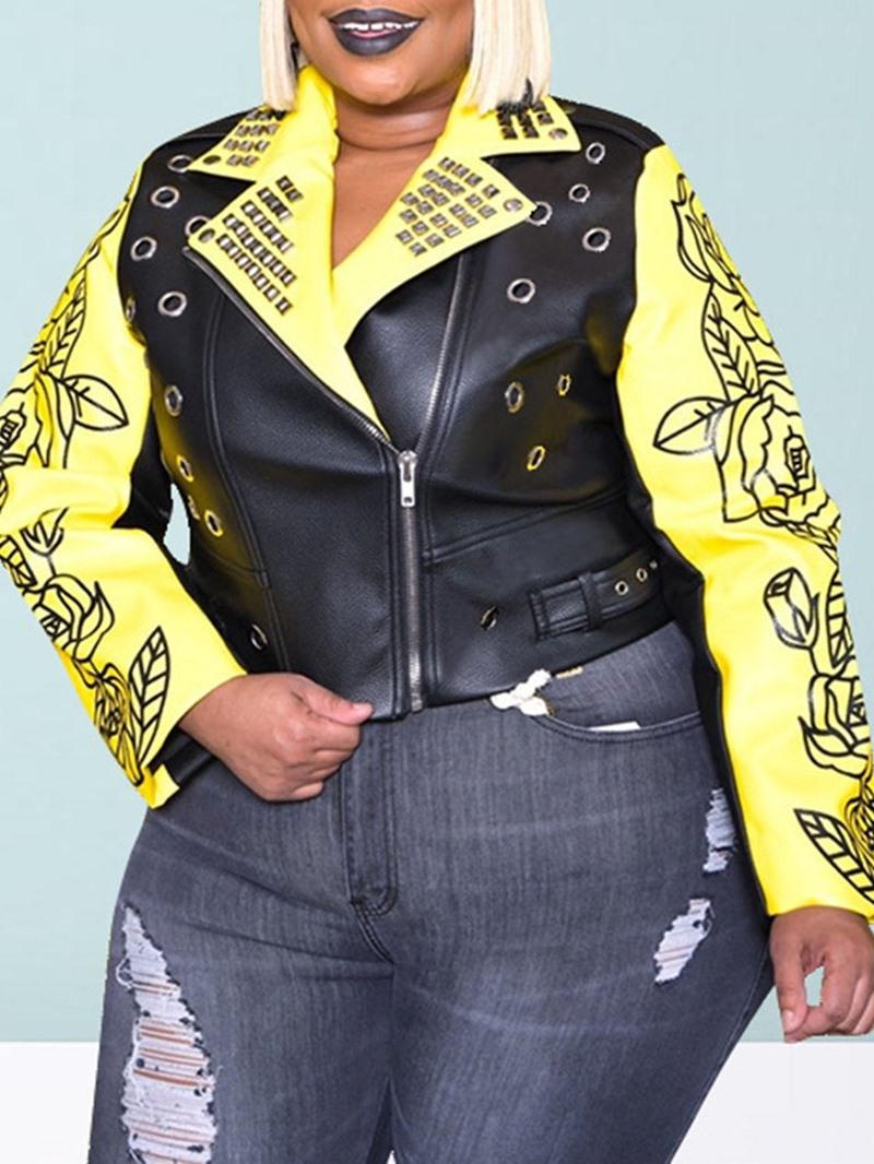 Ericdress PU Zipper Slim Fall PU Jacket