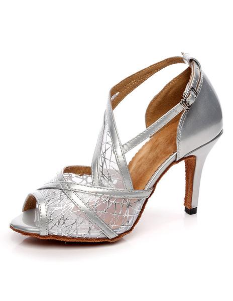 Milanoo Silver Ballroom Shoes Peep Toe Mesh High Heel Dance Shoes Latin Dancing Shoes For Women