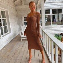 Strick Kleid mit V Ausschnitt