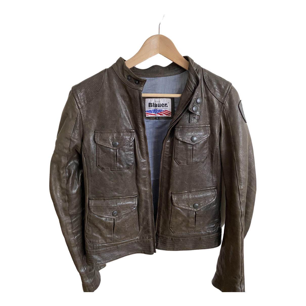 Blauer N Brown Leather Leather jacket for Women 44 IT