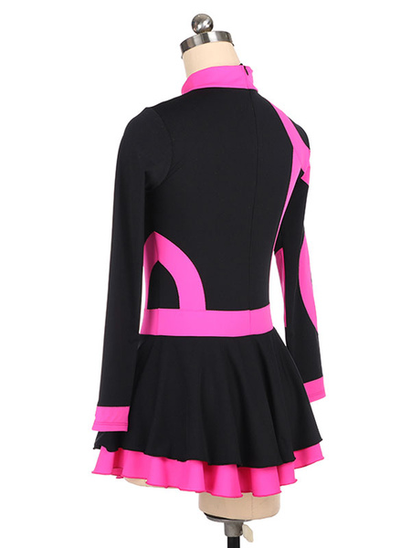 Milanoo Skating Dress Rose Korean Velvet Stripes Dance Costumes