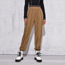 Pantalones deportivos ribete con puntada de cintura elastica