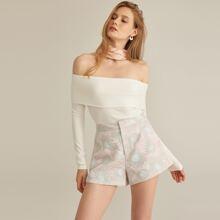Jacquard Shorts mit Reissverschluss und Blumen Muster