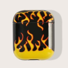 1pc Flame Print AirPods Case