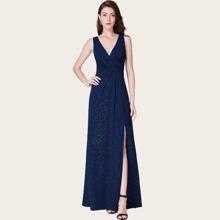 Split Thigh Ruched Glitter Formal Dress