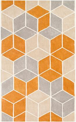 Oasis OAS-1134 8' x 11' Rectangle Modern Rug in Burnt Orange  Khaki  Medium Gray
