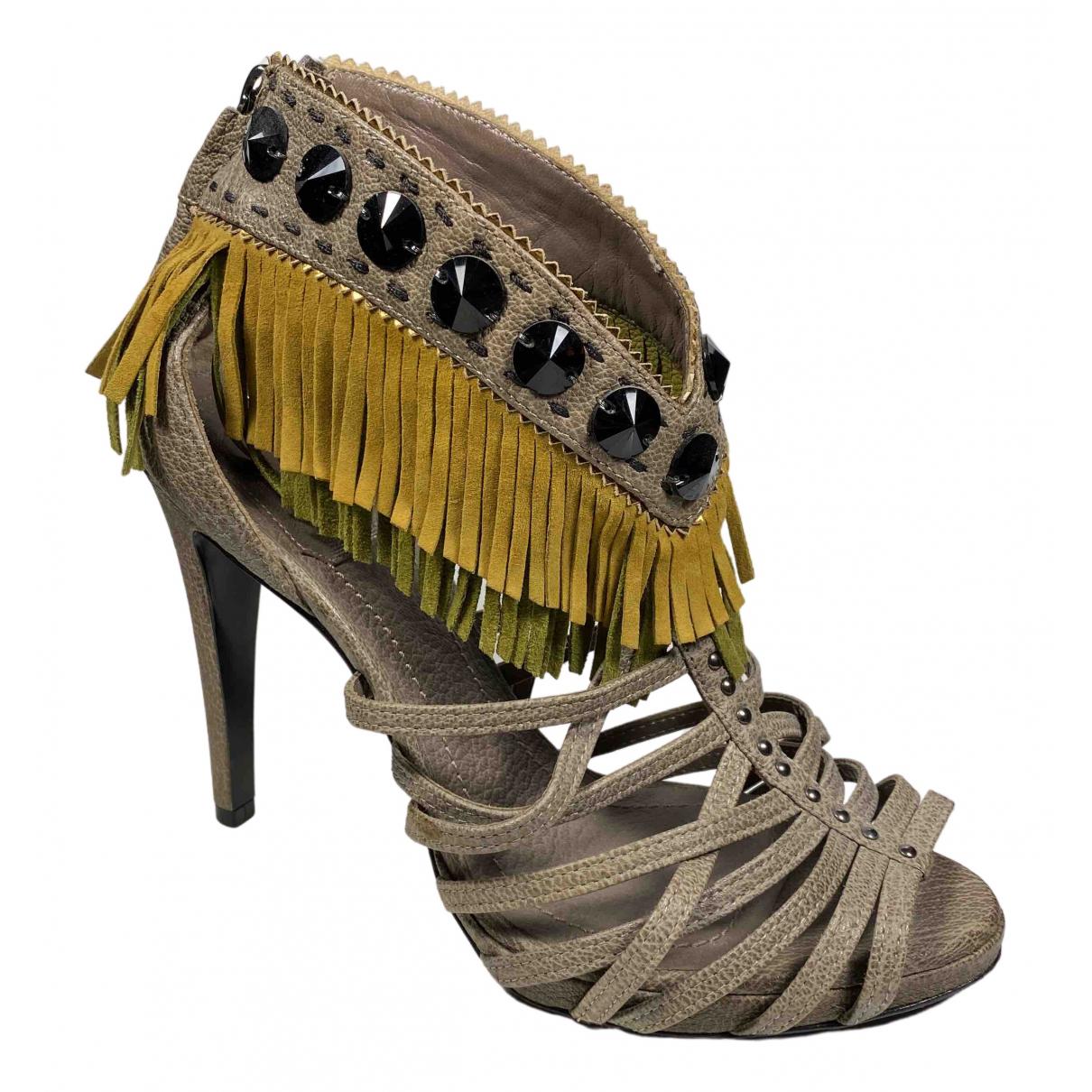 Dior - Sandales   pour femme en suede - kaki