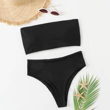 Gerippter Bandeau Bikini Badeanzug mit hoher Taille