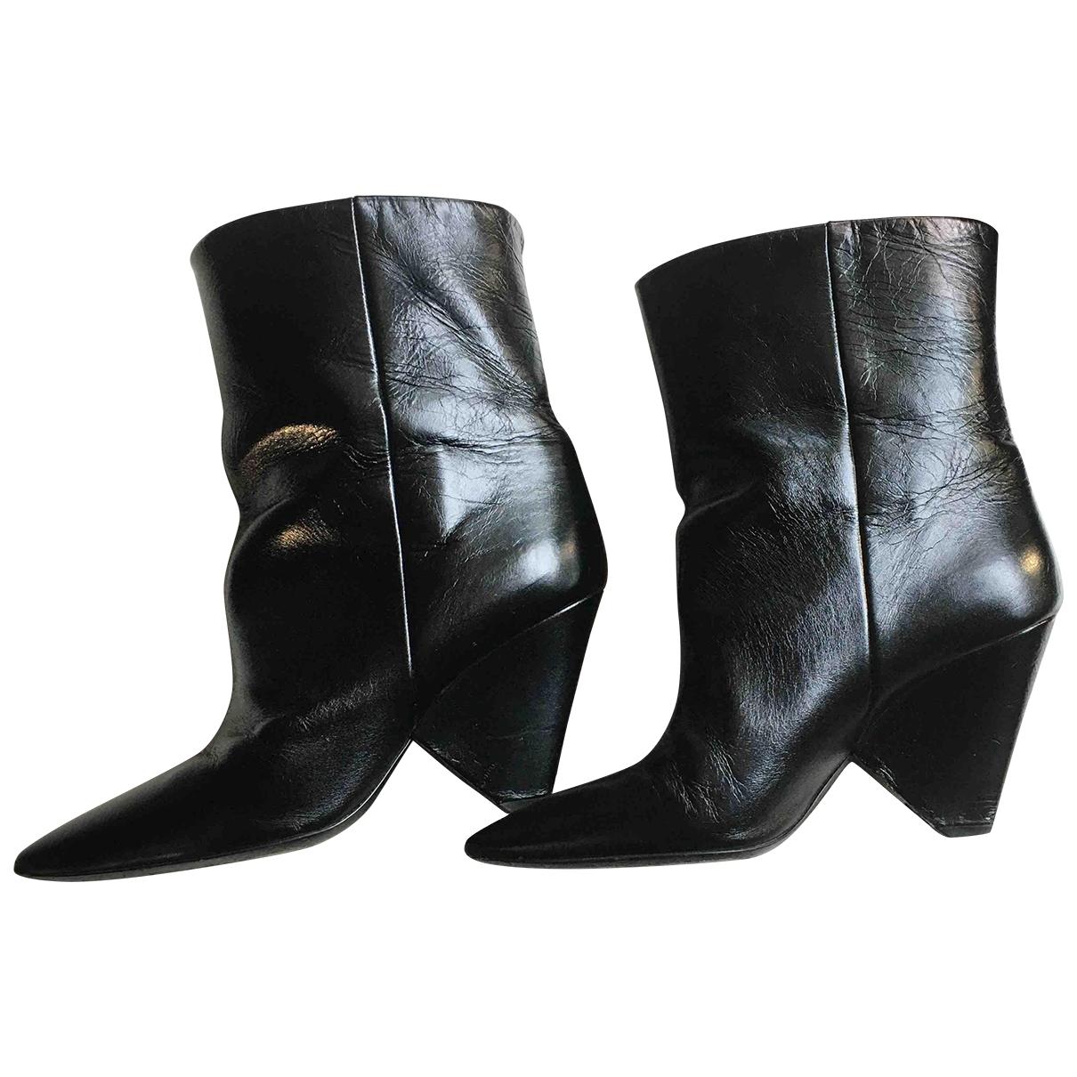 Saint Laurent Niki Black Leather Ankle boots for Women 39 EU