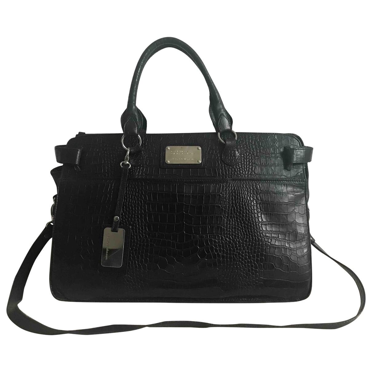 Non Signe / Unsigned \N Handtasche in  Schwarz Leder