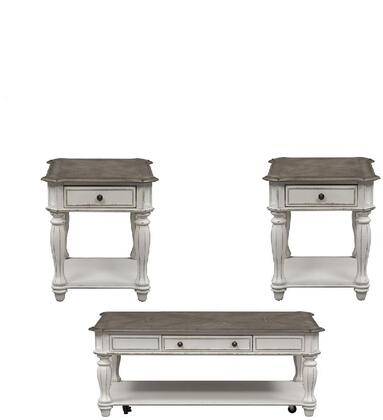 Magnolia Manor Collection 244-OT-3PCS 3PC Cocktail and End Table Set with Full Extension Metal Side Drawer Glides  Rounded Pilasters and Fully