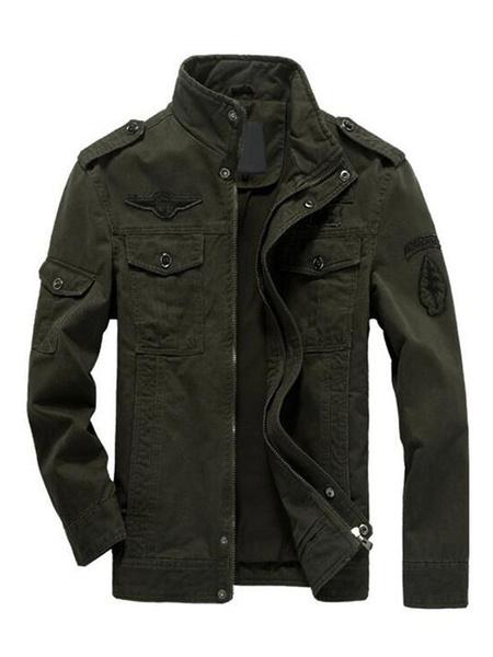 Milanoo Men Military Jacket Hunter Green Windbreaker Jacket Stand Collar Long Sleeve Short Jacket