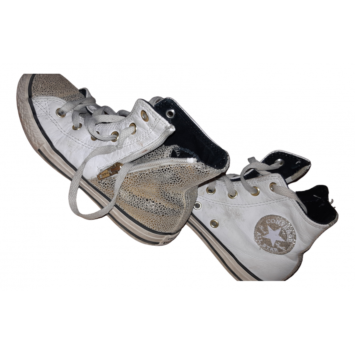 Converse N White Leather Lace up boots for Kids 32 FR