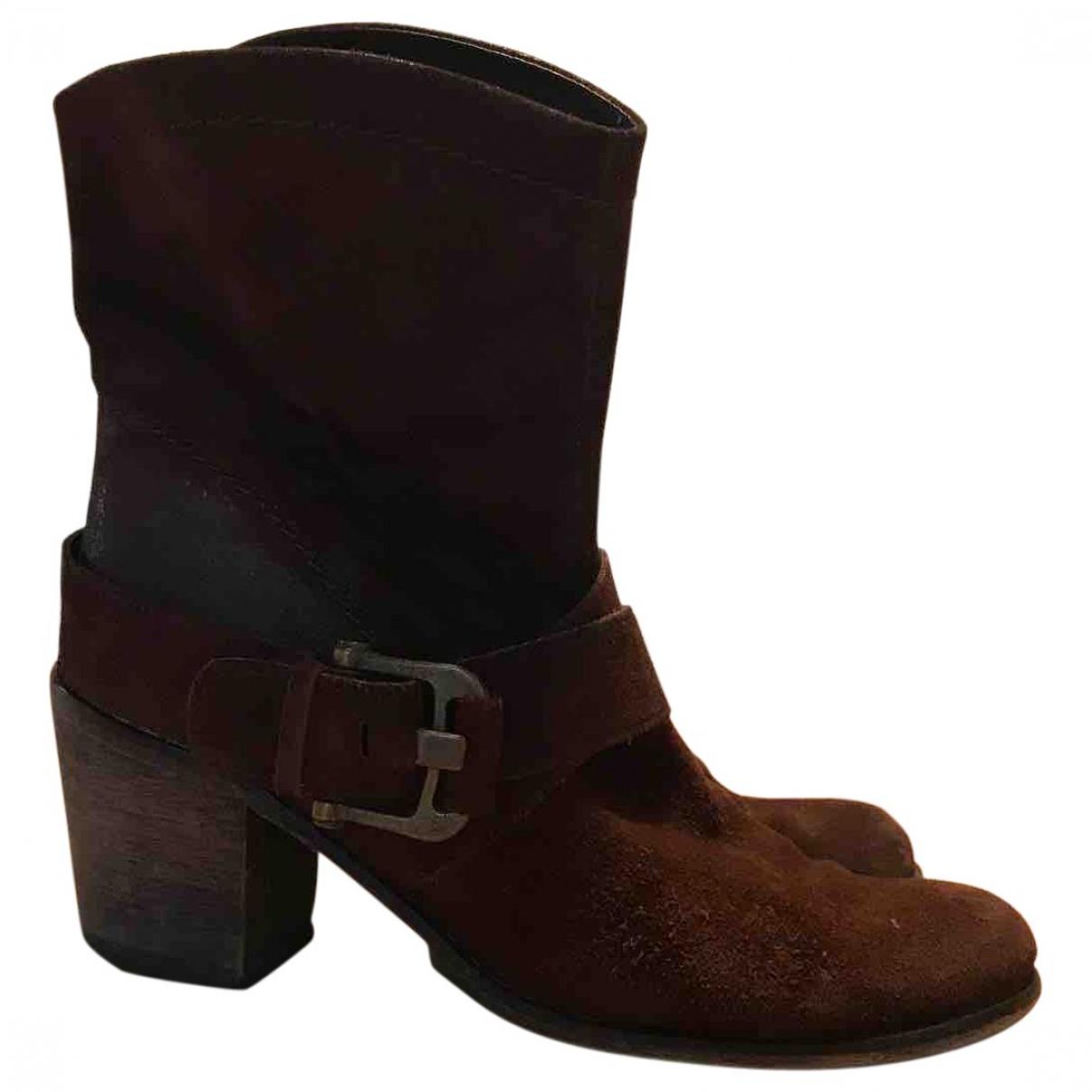 Adolfo Dominguez - Boots   pour femme en suede - marron