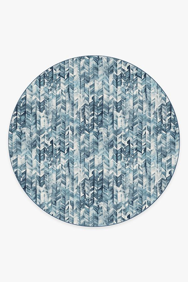 Washable Rug Cover | Watercolor Herringbone Blue Rug | Stain-Resistant | Ruggable | 8' Round