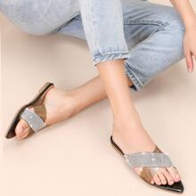 Pointed Sole X Rhinestone Pave Band Slide Sandals