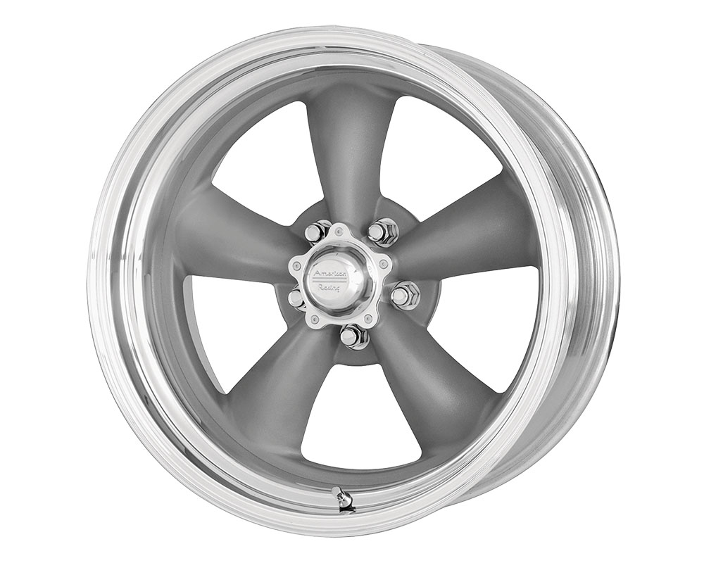 American Racing VN215 Classic Torq Thrust II 1 PC Wheel 16x8 5x5x120.65 -11mm Mag Gray Machined Lip
