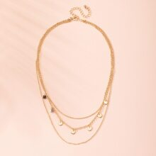 Disc Charm Layered Necklace