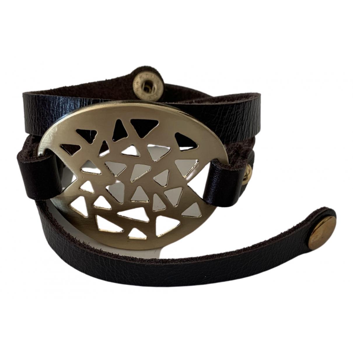 - Bracelet Manchette pour femme en cuir - metallise