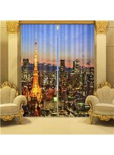 3D Beautiful Night City Printed Polyester Modern Style 2 Panels Custom Blackout Curtain