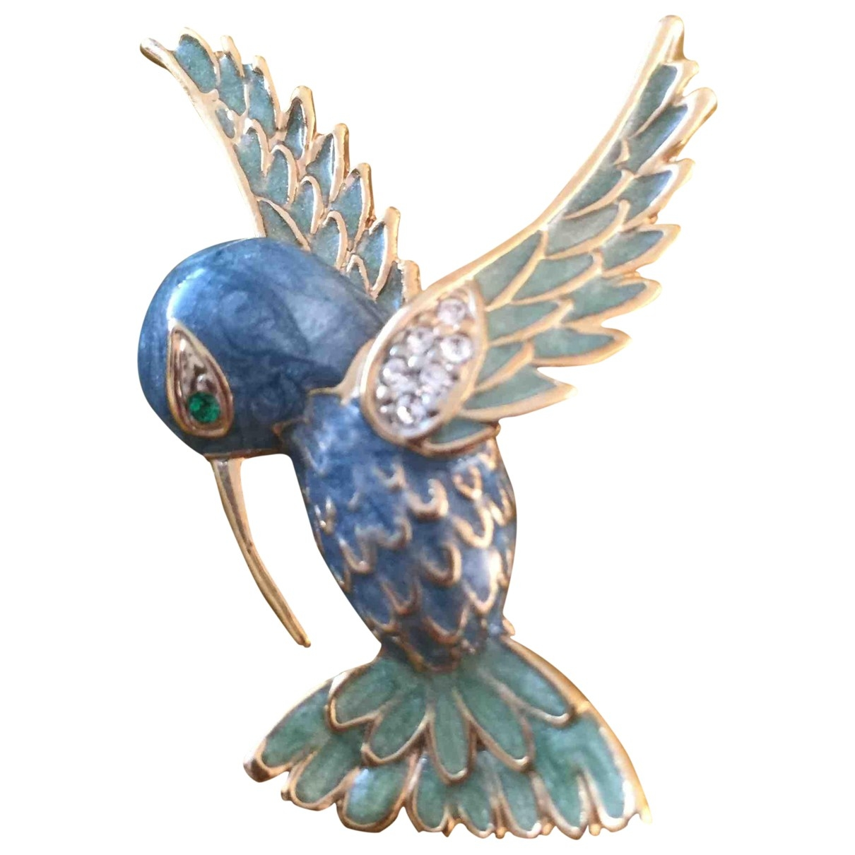 Non Signé / Unsigned Motifs Animaliers Blue Metal Pins & brooches for Women \N