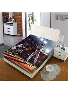 Two Baseball Players Reactive Printing 1-Piece Polyester Bed Cover / Mattress Cover