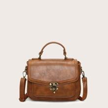 Metal Lock Detail Satchel Bag