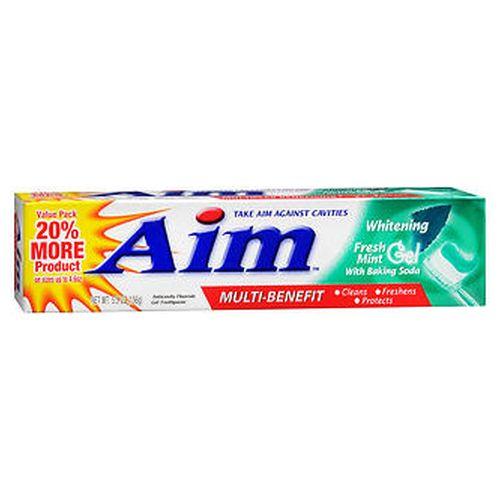 Aim Whitening Anticavity Fluoride Toothpaste Gel Fresh Mint 5.5 Oz by Aim