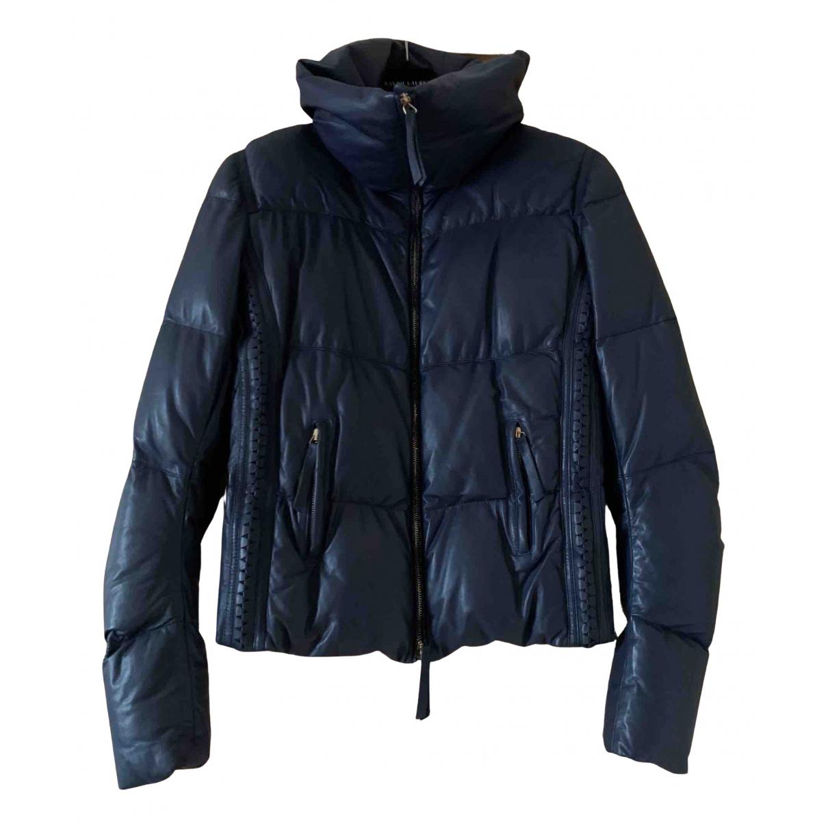 Roberto Cavalli - Manteau   pour femme en cuir - bleu