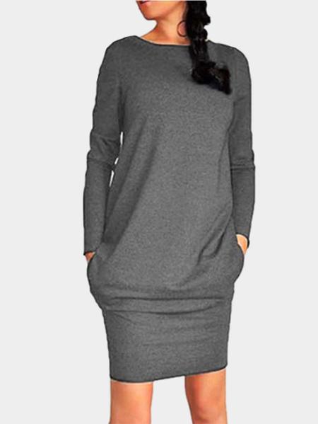 Yoins Dark Grey Casual Round Neck Bodycon Hem Mini Dress