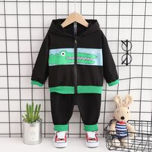 Toddler Boys Cartoon Crocodile & Letter Graphic Hoodie With Sweatpants