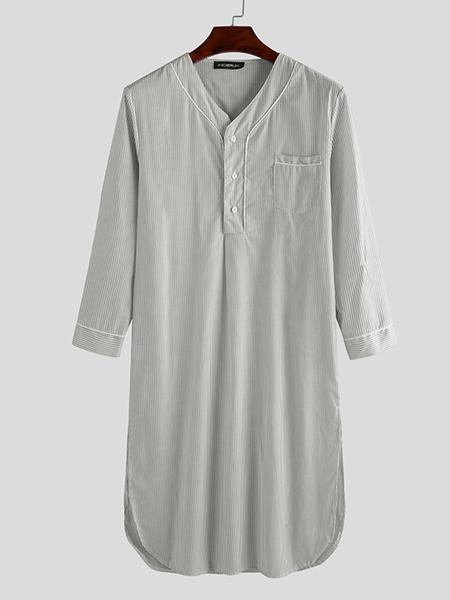 Yoins INCERUN Men Striped Print V-neck Long Sleeve Midi Shirt