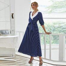 Polka Dot Surplice Front Pleated Dress