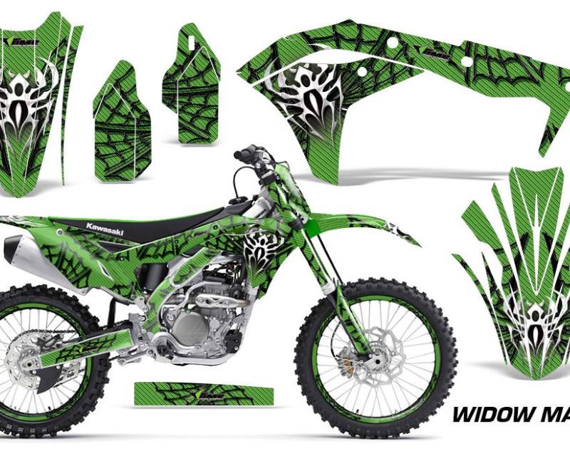 AMR Racing Graphics MX-NP-KAW-KX250F-17-18-WM K G Kit Decal Sticker Wrap + # Plates For Kawasaki KXF250 2017-2018áWIDOW BLACK GREEN