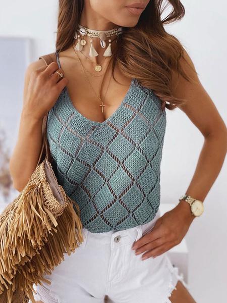 Milanoo Crochet Cami Top Sleeveless Casual Summer Tops For Women