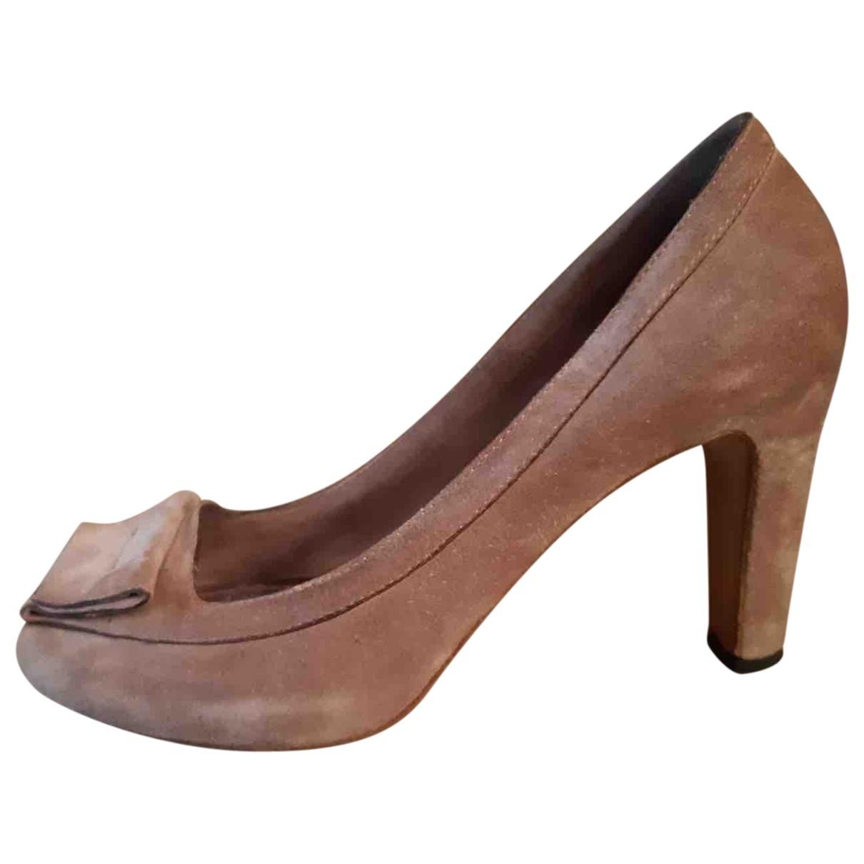 - Escarpins   pour femme en suede - gris