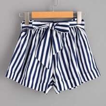Striped Self Tie Waist Shorts