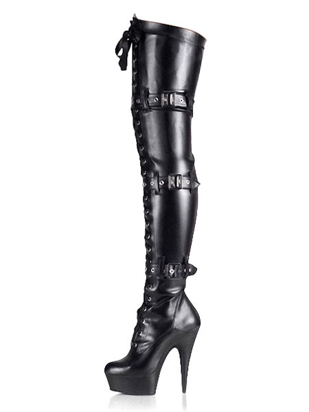 Milanoo Black Sexy Boots Women Platform Buckle Detail Lace Up Over The Knee Boots High Heel Thigh High Boots