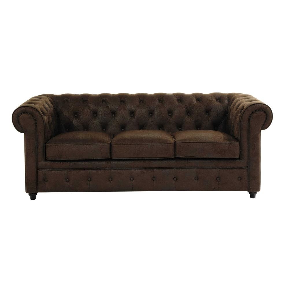 Gestepptes 3-Sitzer-Sofa aus Wildlederimitat, braun Chesterfield