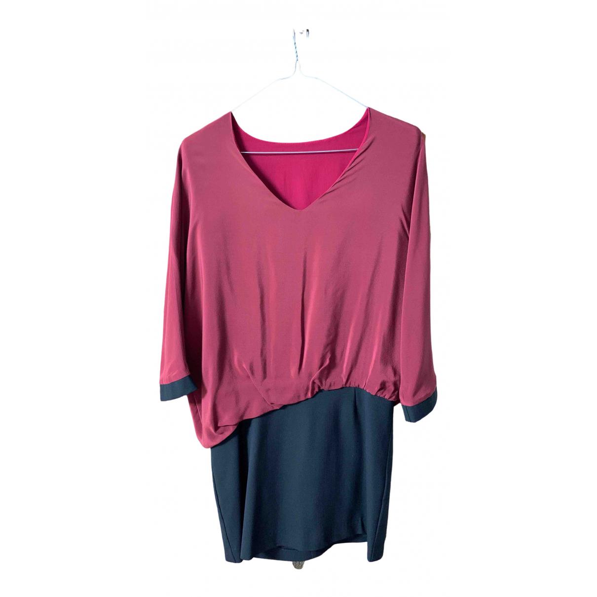 Non Signe / Unsigned Oversize Kleid in  Bordeauxrot Seide