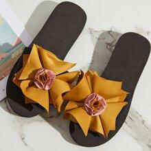Open Toe Flower Decor Sliders