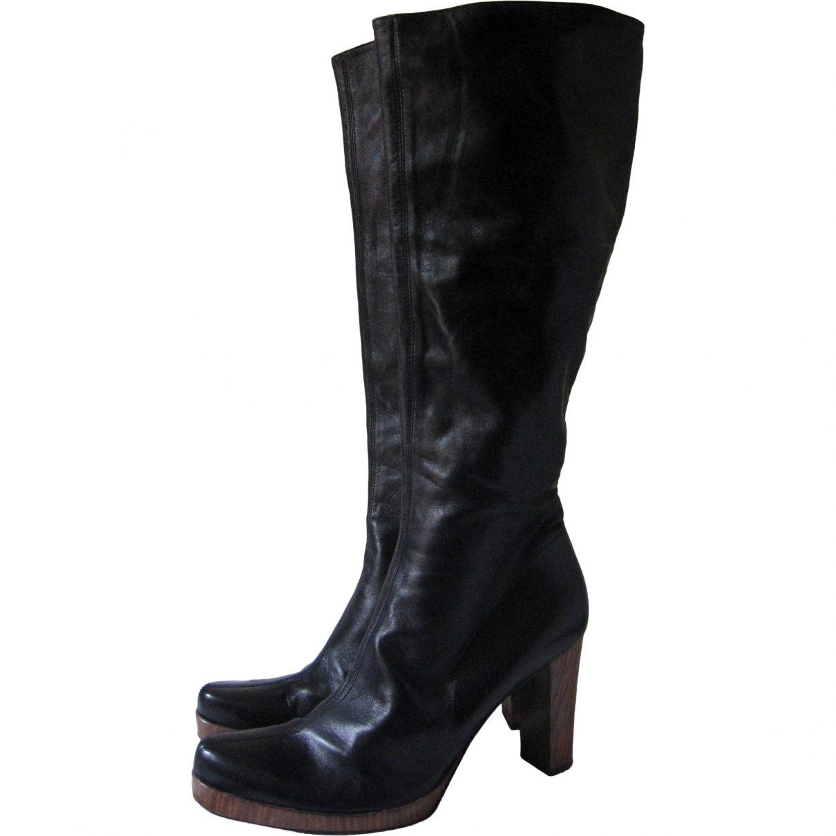 Pollini \N Black Leather Boots for Women 40 EU