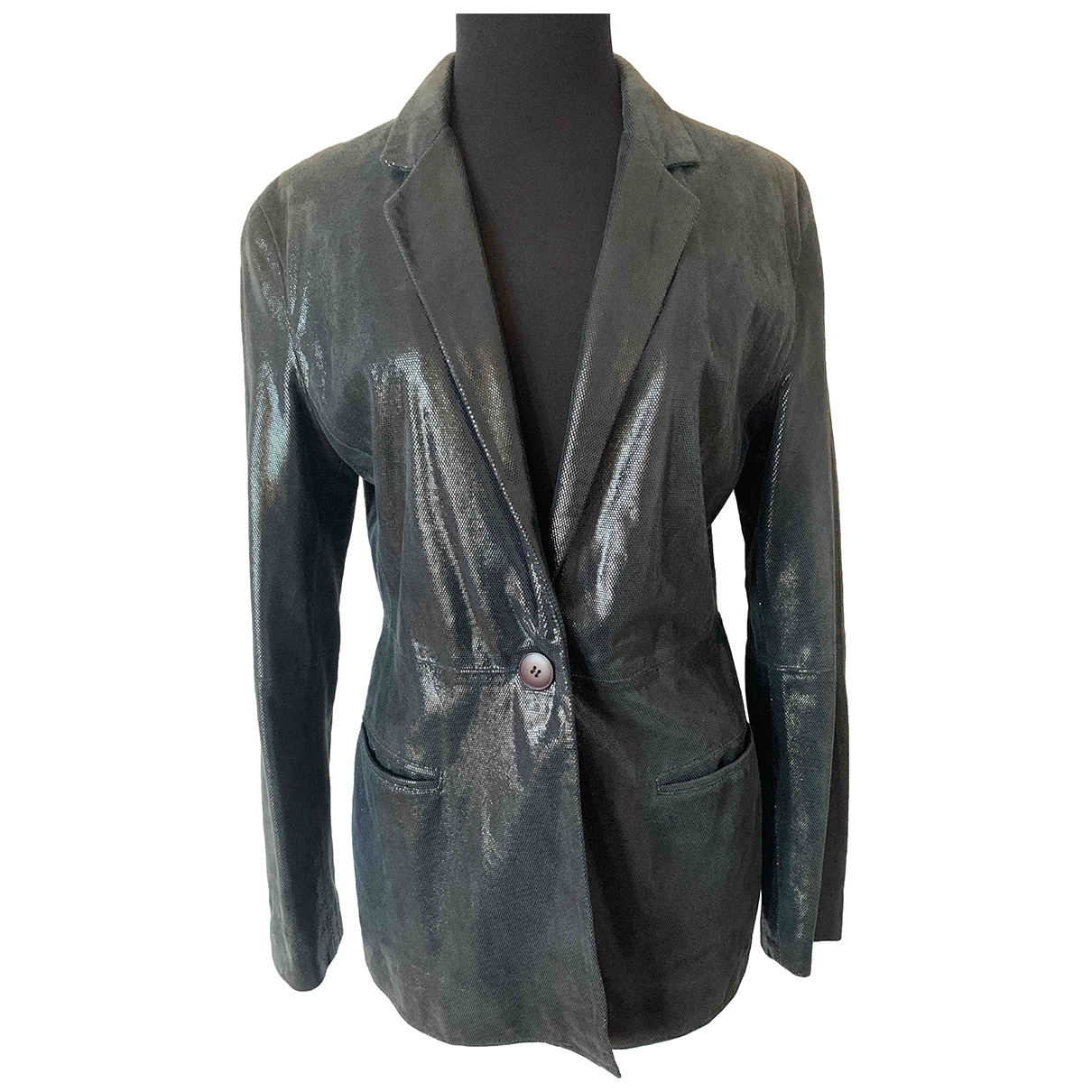 Emporio Armani \N Blue Leather jacket for Women 42 IT
