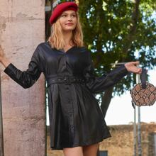 Button Front PU Leather Belted Dress