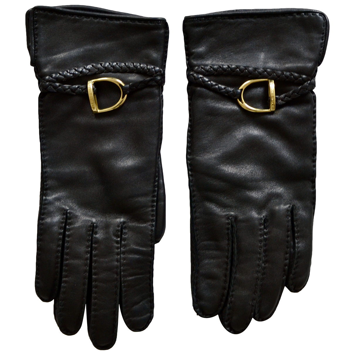 Ralph Lauren Collection N Black Leather Gloves for Women 6.5 Inches