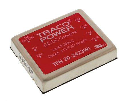 TRACOPOWER TEN 20WI 20W Isolated DC-DC Converter Through Hole, Voltage in 9 → 36 V dc, Voltage out ±15V dc