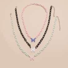 3 piezas collar con cadena con mariposa