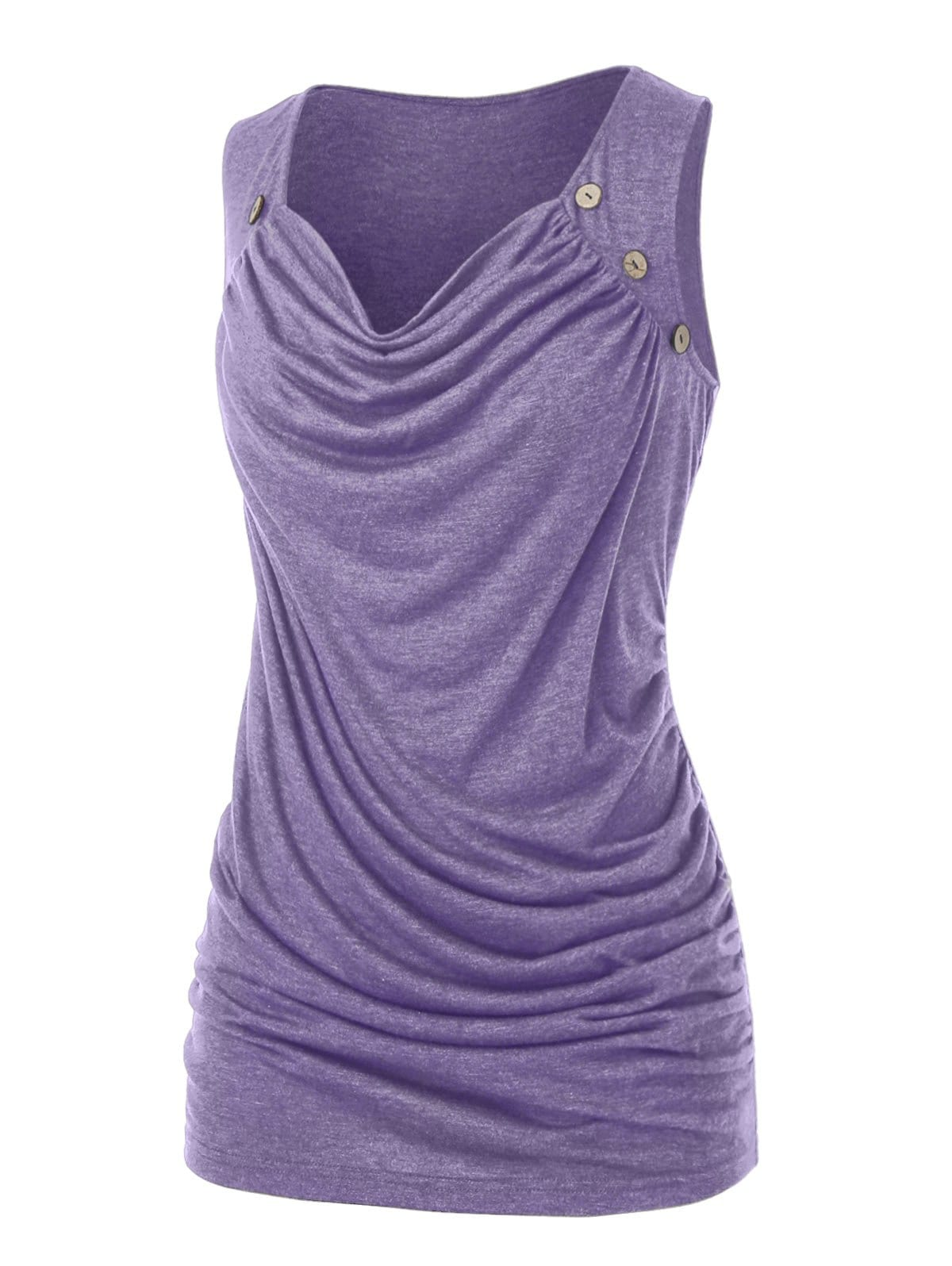 Plus Size Draped Ruched Mock Button Tank Top
